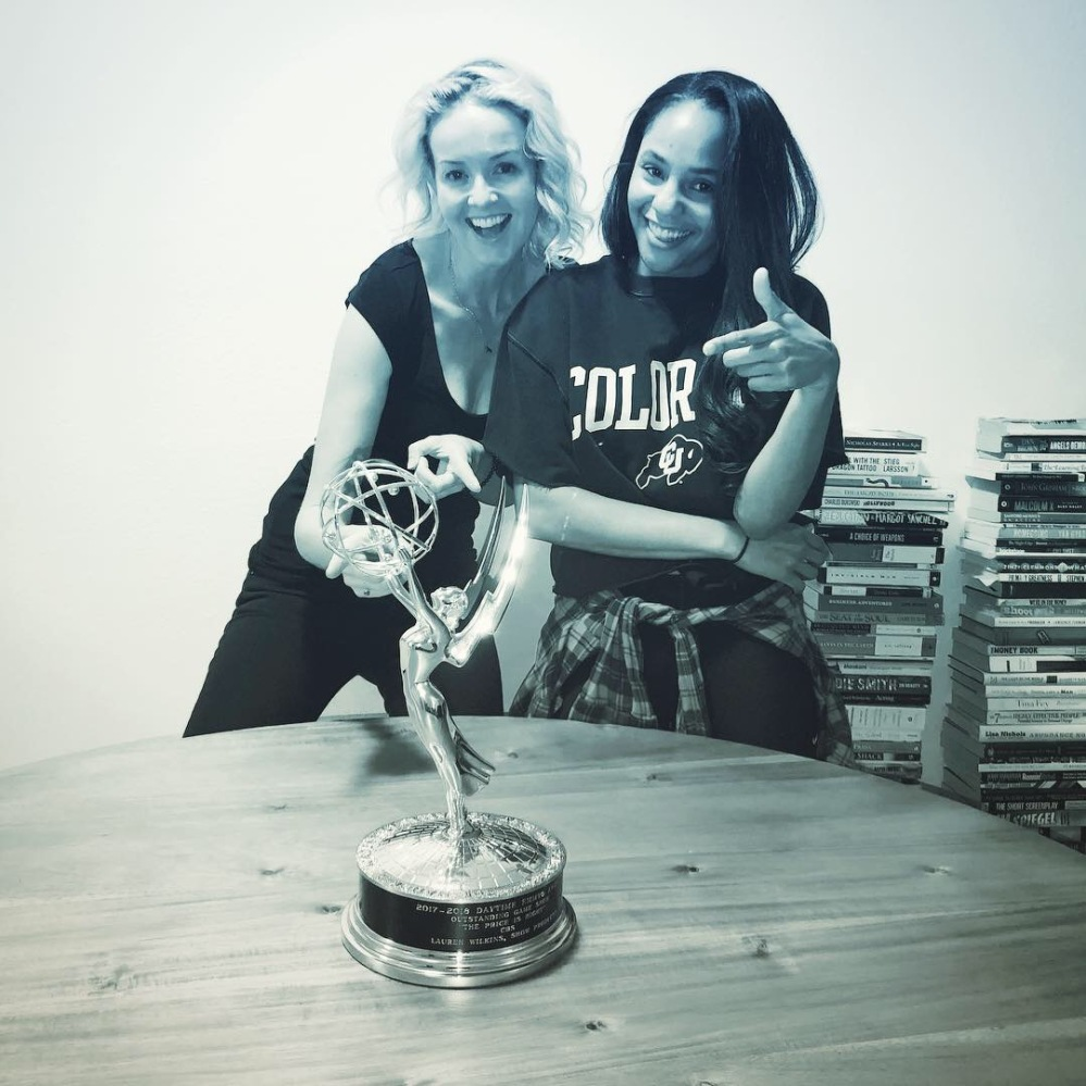 Lauren Wilkins and her Emmy with Melanie Camp Beautiful Hollywood Podcast